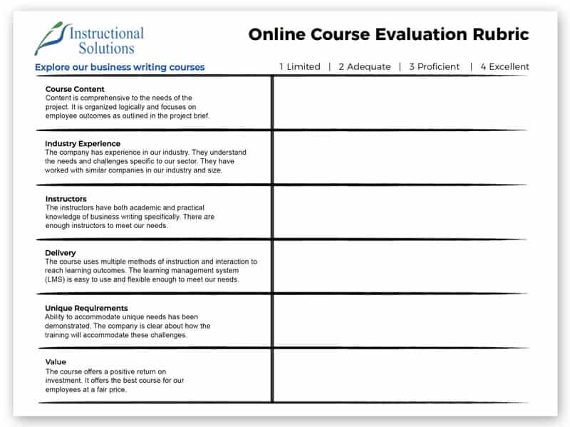 Choosing a Business Writing Course Rubric