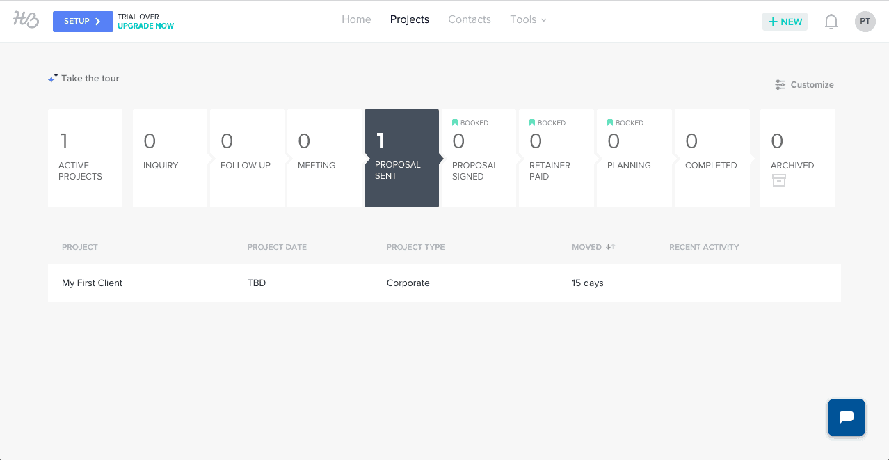 HoneyBook's customizable sales tracking overview