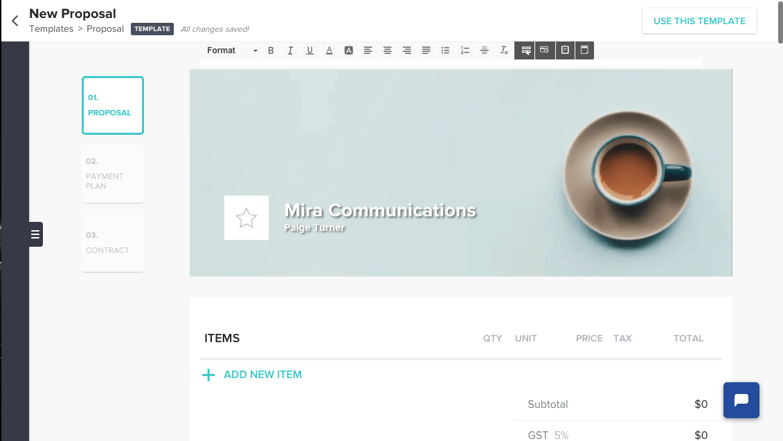HoneyBook's standard proposal template and editor