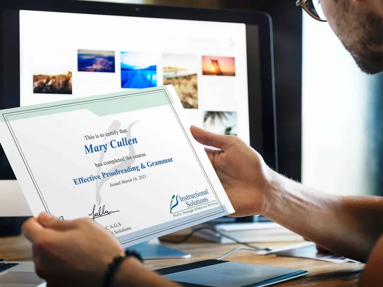 Proofreading course certificate