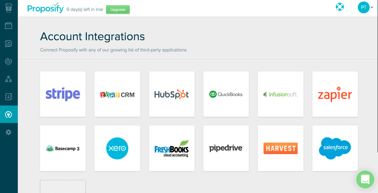 Proposify Account Integrations
