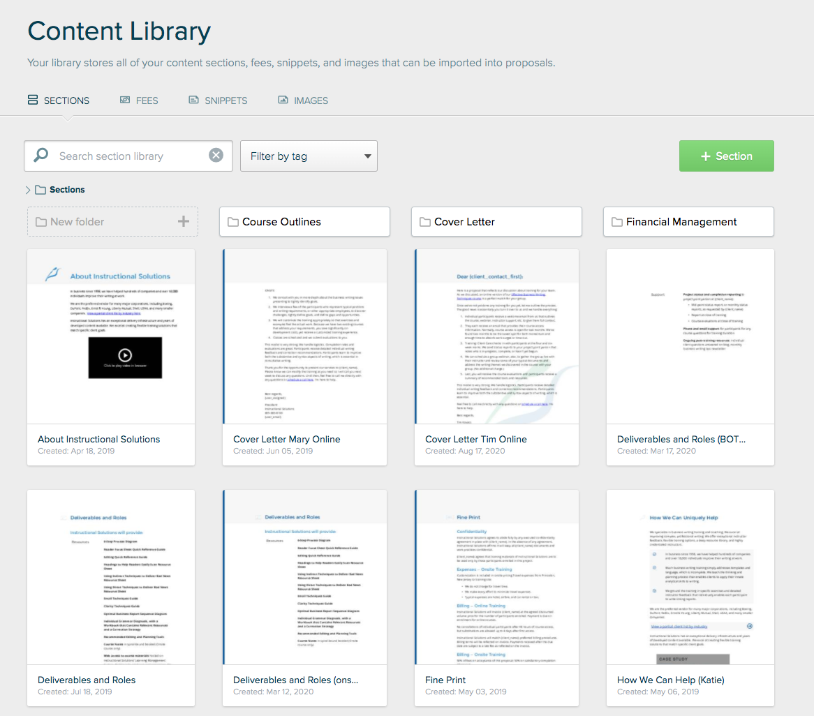 Proposify Our Content Library