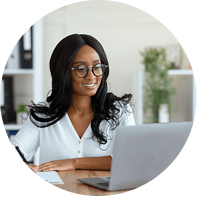business-woman-working-on-individual-writing-course-circle