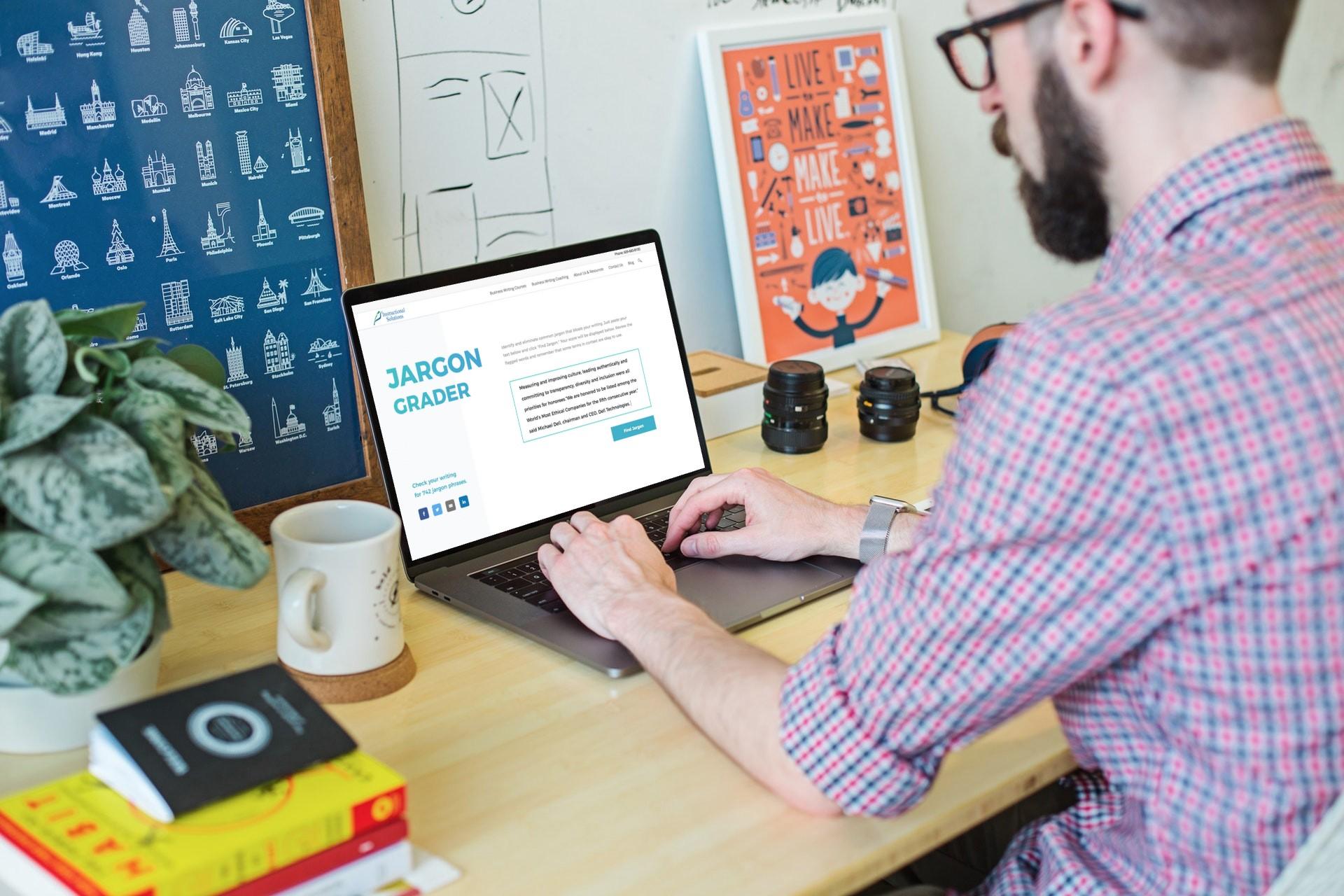 jargon grader and man typing