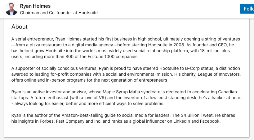 ryan holmes linkedin about summary