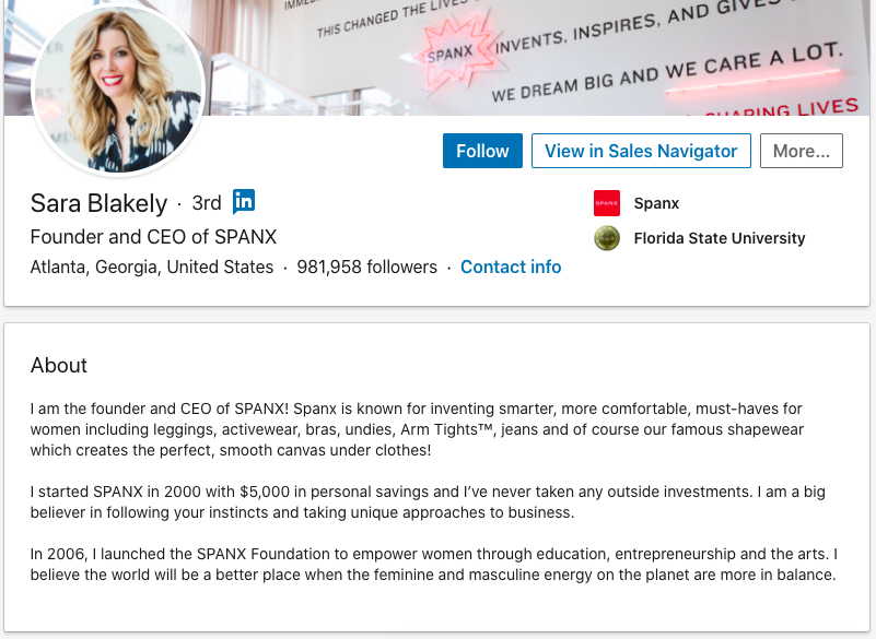 sara blakely linkedin about summary