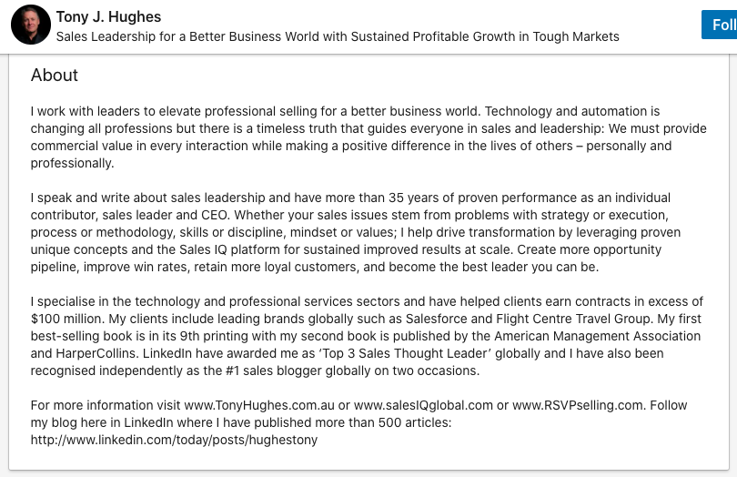 tony hughes linkedin about summary